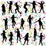 Background with silhouettes of children dancing