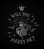 Dead man chest whit a wedding rind with diamond and shiny crown. Will you marry me design in traditional tattoo style. Vector illustration.