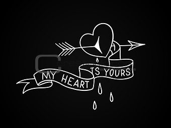 Broken heart with arrow through it and blood drops. Old school tattoo design aboul love. Vector illustration.