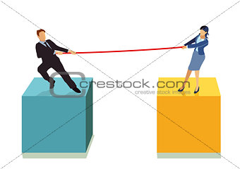 a couple are pulling each other on the rope, illustration