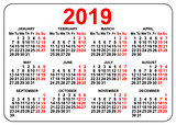 2019 compact grid pocket calendar first day Monday