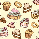 Seamless pattern with candies and cakes