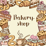 Background with bakery products