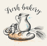 Fresh bakery produkts and jug of milk