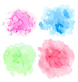 Set of abstract bright watercolor blots