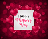 Happy Mother`s Day Cute Background with Hearts Vector Illustration