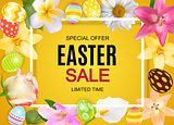 Happy Easter Cute Sale Poster  Background with Eggs and Flowers. Vector Illustration