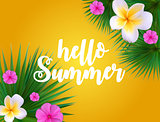 Hello Summer Natural Floral Background with Frame Vector Illustration