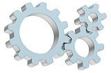 Three 3d gears made of metal and glass