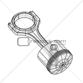 Sketch of piston. Vector rendering of 3d