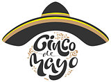 Cinco de Mayo. Black sombrero hat and lettering text for greeting card