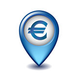 Marker location icon Euro sign.