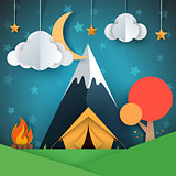 Cartoon paper landscape. Tree, mountain, fire, tent, moon, cloud star illustration.