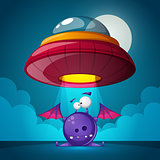 Cartoon characters horror. Ufo illustration. Cartoon landscape.