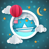 Air balloon, ship illustration. Cartoon sea landscape.
