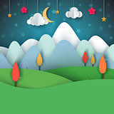 Cartoon paper landscape. Moon, cloud, star, tree, landscape.