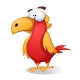 Funny, cute, crazy - cartoon bird.