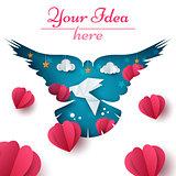 Dove illustration. Cartoon paper landscape. Heart, love, cloud, star icon.