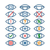 Colored eye icons for different actions, set of outline eye pictograms, vector operation icons
