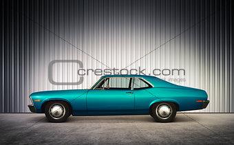 blue retro car at hight
