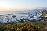 Sunset over Mykonos town, Cyclades, Greece.