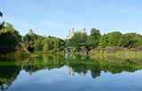 Turtle Pond, Central Park, surrounded by trees and lush plants