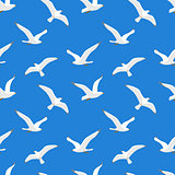 Seamless pattern with sea gulls