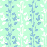 Seamless pattern with birds and floral elements