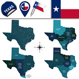 Map of Texas with Regions