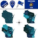 Map of Wisconsin with Regions
