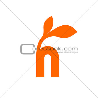 Small orange h letter with 2 leaves on the top