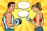 man and woman with dumbbells, comic strip dialogue bubble