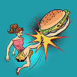 Woman kicks Burger, fastfood and healthy food