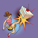 woman refuses a sweet cake