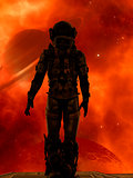 Space traveler looking a big planet in deep space
