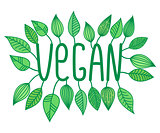 Green vegan sign in with growing leaves, vector label and tag, vegetarian concept sticker