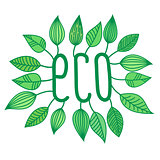 Green eco sign in with growing leaves, vector label and tag, ecological concept sticker