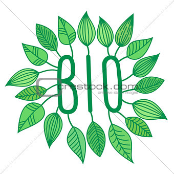 Green bio sign in with growing leaves, vector label and tag, ecological concept sticker, letters