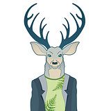 Fashion portrait of hipster deer. Reindeer dressed up in coat, furry art character, trand animals, anthropomorphism. Vector illustration for t-shirt print, card.