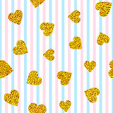 golden hearts on striped background