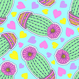 pattern with cactuses and hearts