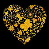 golden floral valentines heart