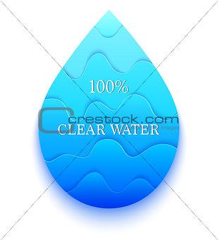 Blue paper water drop