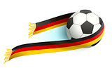 Soccer ball and German flag scarf support fans