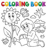 Coloring book boy gardening theme 1