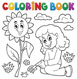 Coloring book girl gardening theme 1