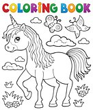 Coloring book happy unicorn topic 1
