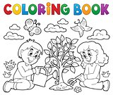 Coloring book kids planting tree