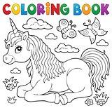 Coloring book lying unicorn theme 1