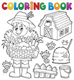 Coloring book woman farmer theme 1